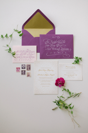 Elegant Purple Gold Wedding Stationery