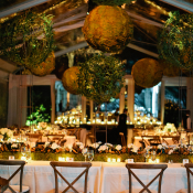 Elegant Wedding Reception with Moss