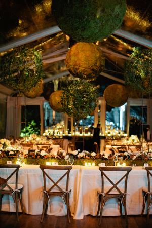 Elegant Wedding Reception with Moss