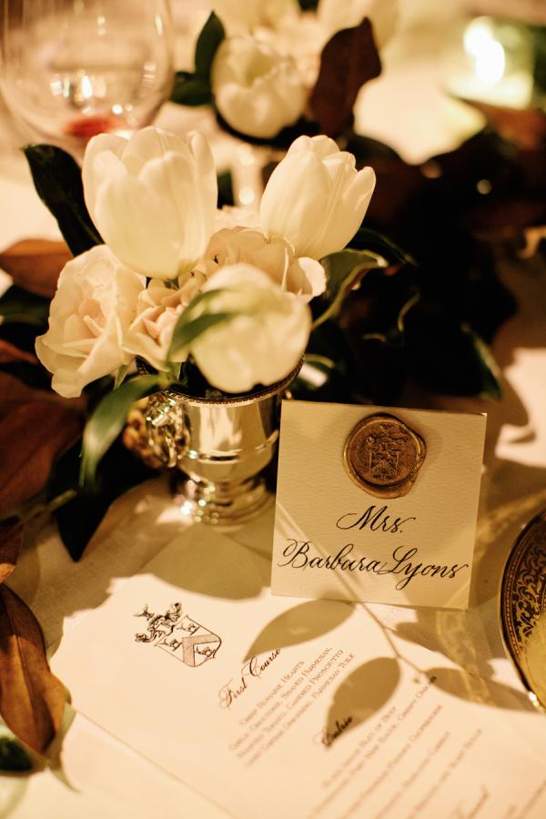 Family Crest on Wedding Menu