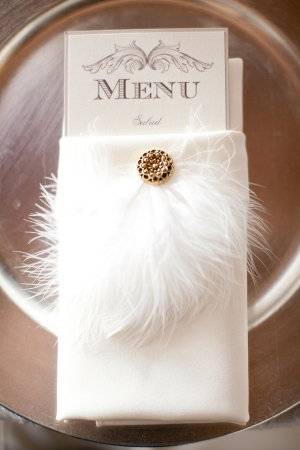 Feather Brooch on Place Setting