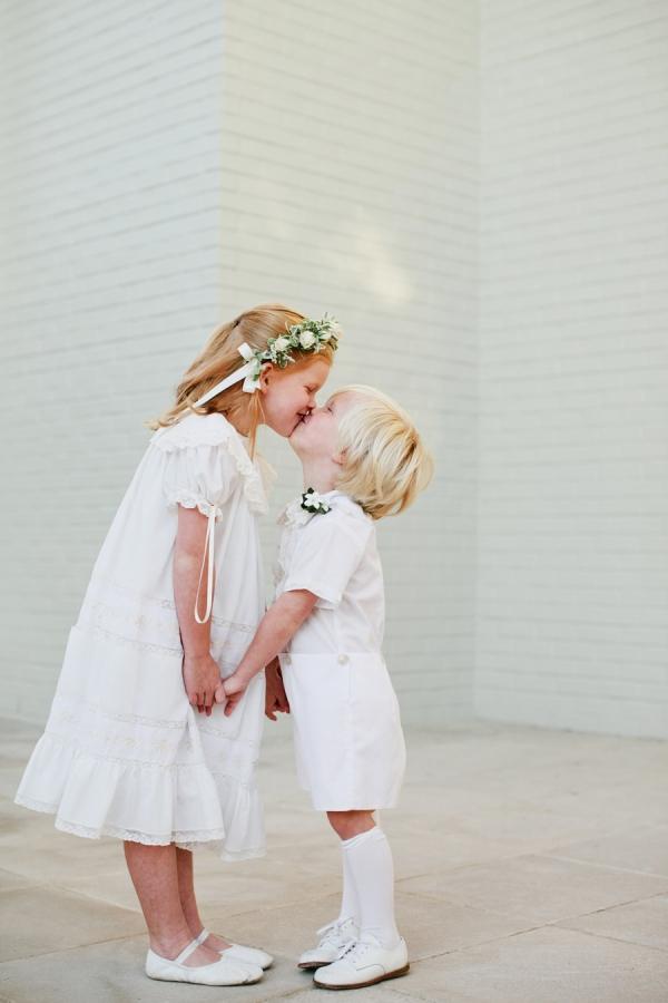 Flower Girl and Ring Bearer Kiss