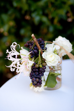 Flower and Champagne Grape Arrangement