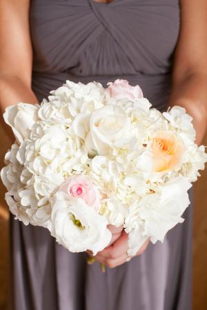 Fluffy White Bridesmaids Bouquet