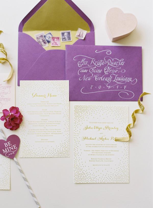Gold Dot Wedding Invitations