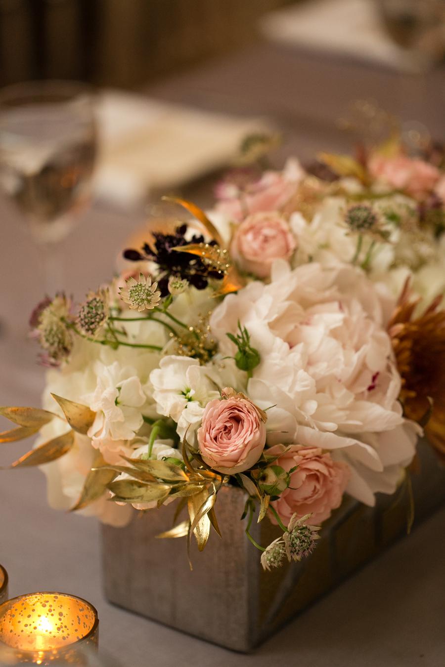 Gold Leaf And Floral Arrangement Elizabeth Anne Designs
