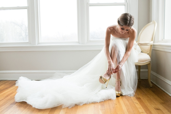 Gold Platform Bridal Shoes