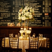Gold Sequin and Cream Floral Reception Decor
