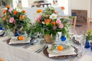 Gold Turquoise and Peach Reception Decor