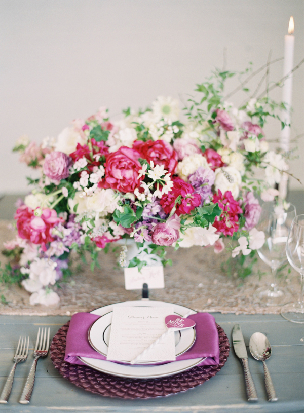 Gorgeous Purple and Pink Centerpiece