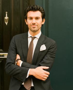 Groom in Gray Suit Brown Tie