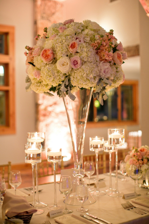 Hydrangea and Rose Arrangement in Fluted Glass Vase