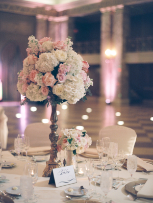 Hydrangeas and Roses in Silver Candlestick Vase