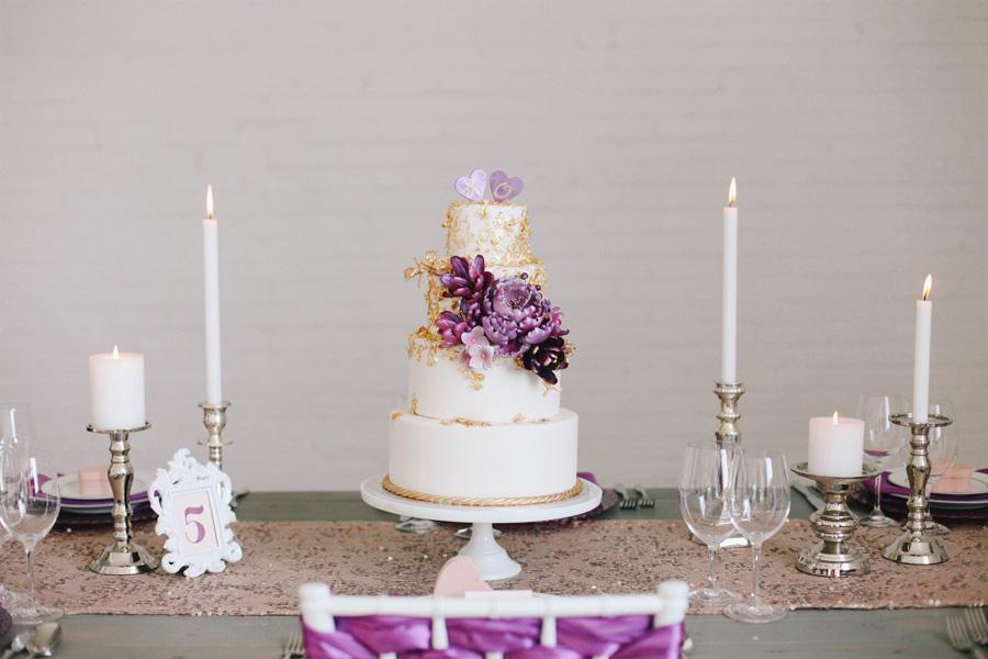 Modern Purple Gold Wedding Cake Elizabeth Anne Designs