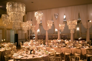Modern Reception with Chandeliers