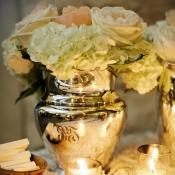 Monogrammed Silver Vases