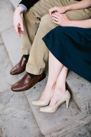 Nude Pumps With Navy Dress