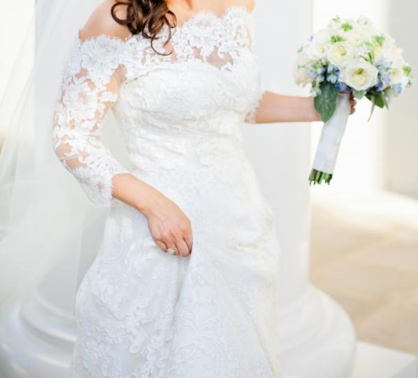 Off Shoulder Lace Bridal Gown