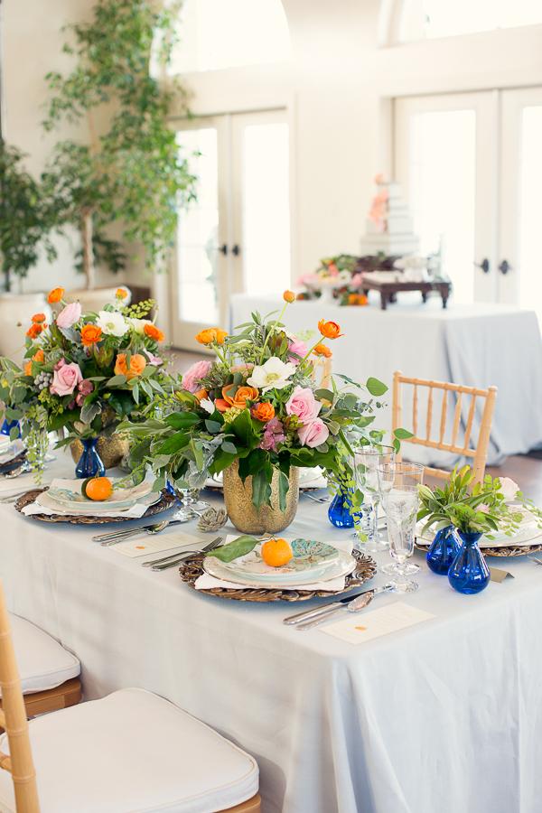 Orange Blue Green Wedding Centerpiece