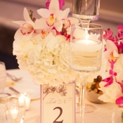 Orchid and Hydrangea Reception Flowers