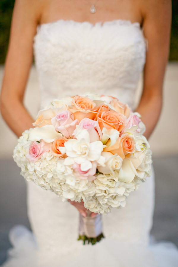 Peach Pink and White Bouquet