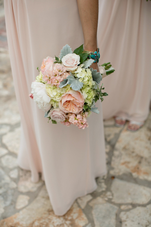 Peony Hydrangea and Dusty Miller Bouquet