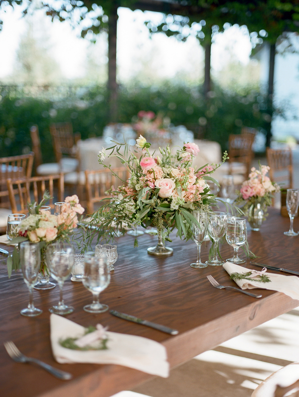 Pink Centerpiece on Wood Table