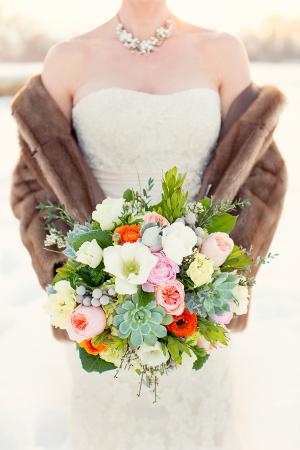 Pink Floral and Succulent Bouquet