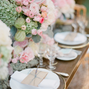 Pink and Green Romantic Reception Table