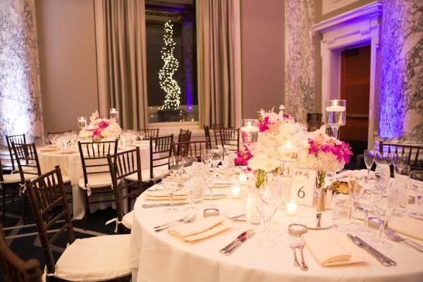 Pink and Purple Hotel Reception Decor