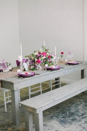 Purple Gold Modern Wedding Centerpiece