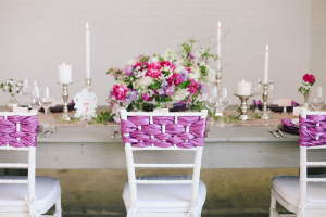 Purple Ribbon Chair Decoration