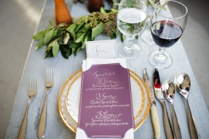Purple and Gold Table Decor