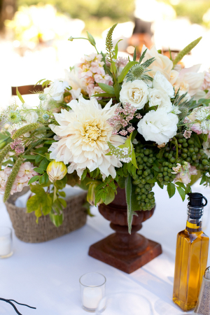 Reception Arrangement in Rustic Urn