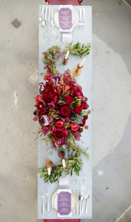 Rich Red and Fuchsia Floral Centerpiece