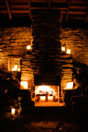 Stone Fireplace with Candles