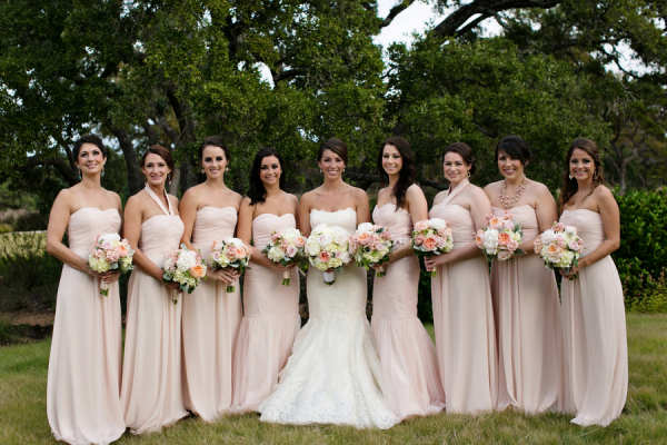 Strapless Blush Bridesmaids Dresses