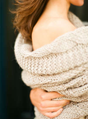 Taupe Cable Knit Wrap