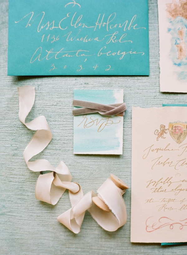 Teal Gold Watercolor Wedding Invitations