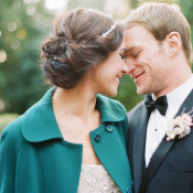 Teal Winter Coat Over Bridal Gown