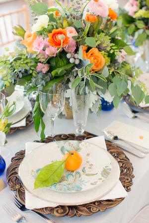 Turquoise Paisley Wedding China