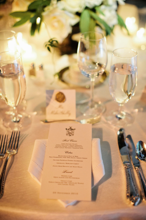 Wedding Menu with Family Crest