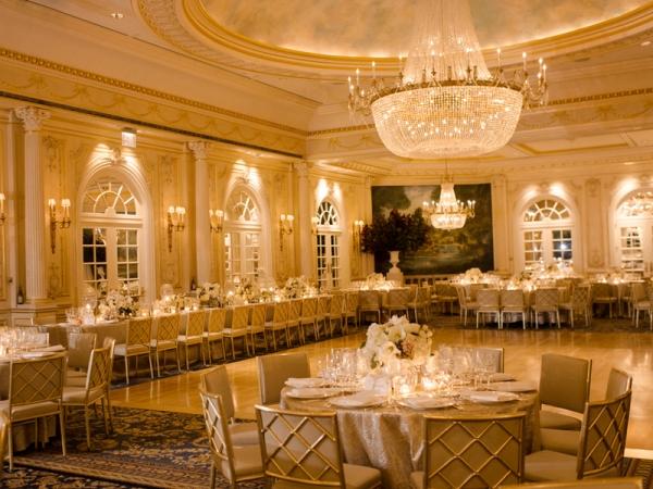 Ballroom Reception With Elegant Chandelier Elizabeth