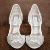 Beaded Peep Toe Bridal Shoes