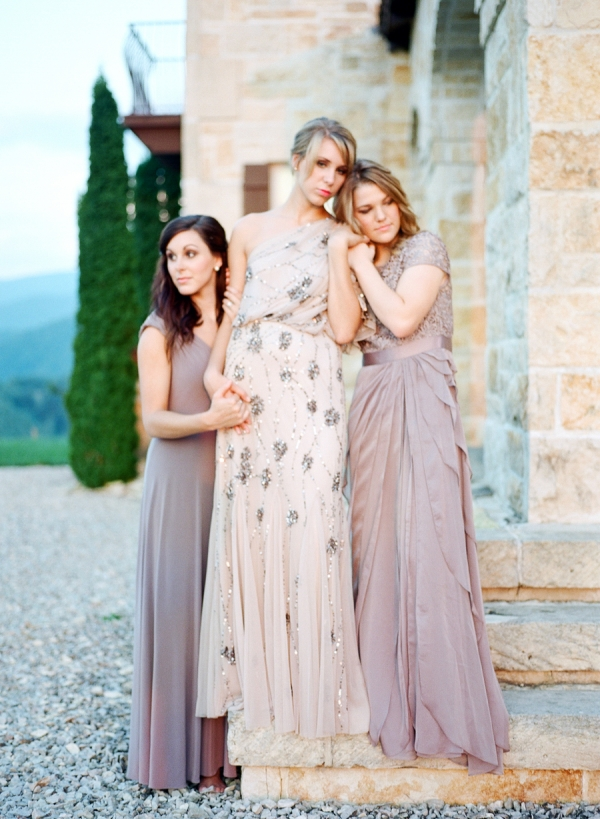 Beaded Taupe Gowns Wedding Inspiration