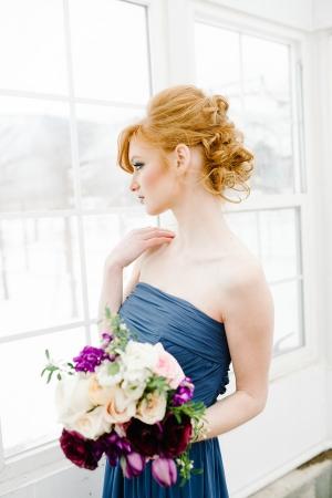 Blue Bridesmaids Dress Purple Bouquet