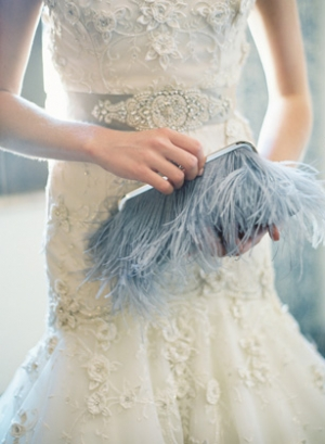 Blue Feather Clutch