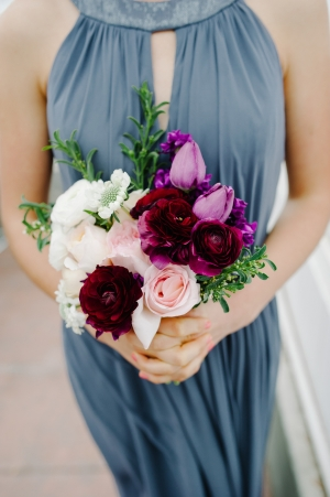 Blue Halter Style Bridesmaids Dress