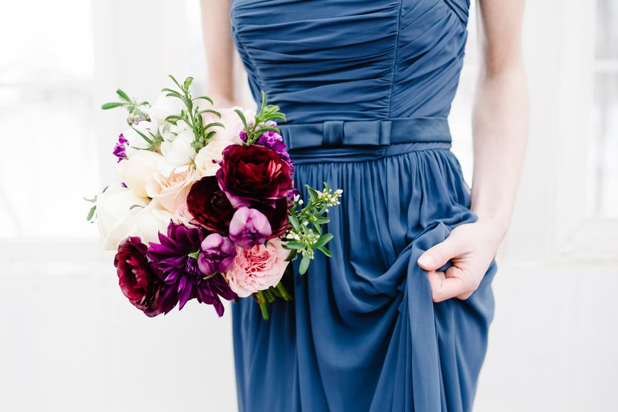 Blue Silk Bridesmaids Dress