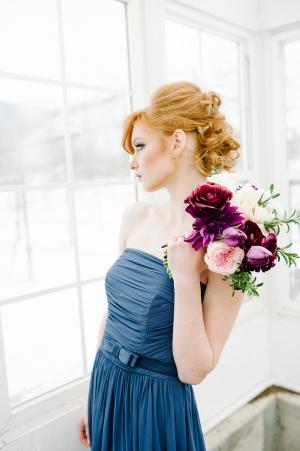 Blue Strapless Bridesmaids Dress